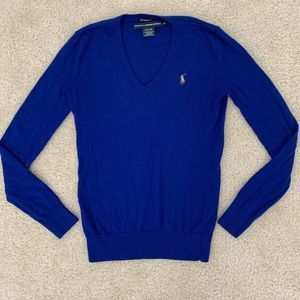Polo Ralph Lauren V-Neck Wool Sweater Royal Blue
